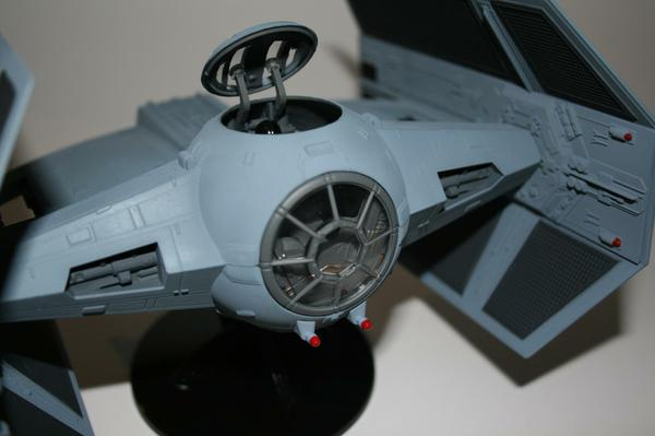 Detail view showing the repainted lasers, and the dark grey inside the cockpit.