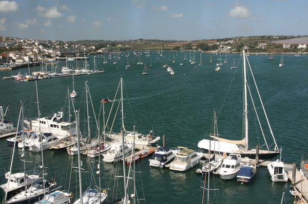 The view over Falmouth harbour from the National Maritime Museum.