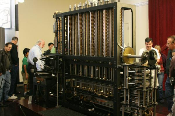 A working implementation of Charles Babbage's difference engine on display.