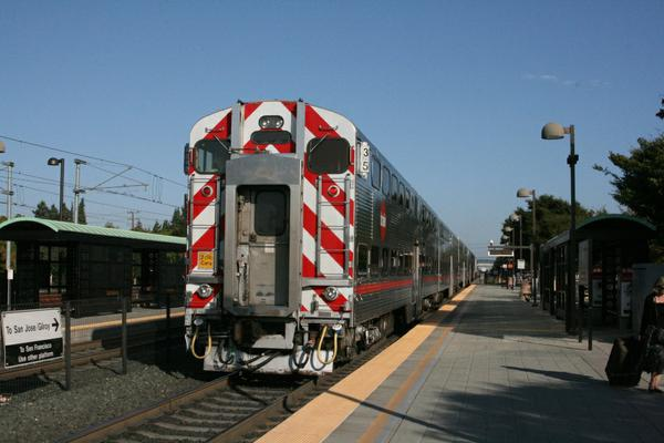 The Cal-Train is a double decker with amazingly low platforms compared to British trains.