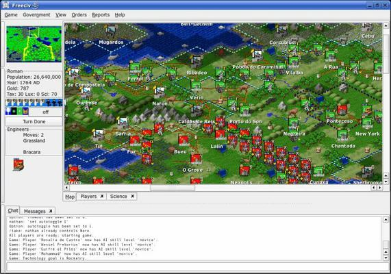 Screen shot of an ongoing game of FreeCiv.
