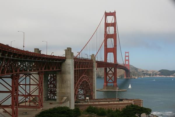 A classic view of the Golden Gate Bridge on a clear day.