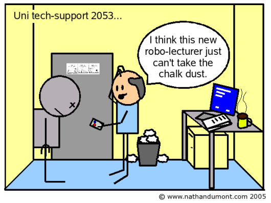 A cartoon shows a balding technician fixing a robotic lecturer which has seized up because of dust, there is also a cup of coffee, a blue-screened beige computer, a full waste paper basket and a Dilbert cartoon on the wall.