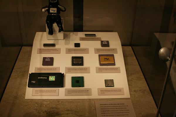 A selection of Intel CPU chips.