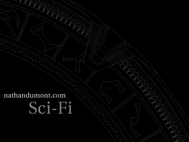 A portion of the Stargate in white on a black background.