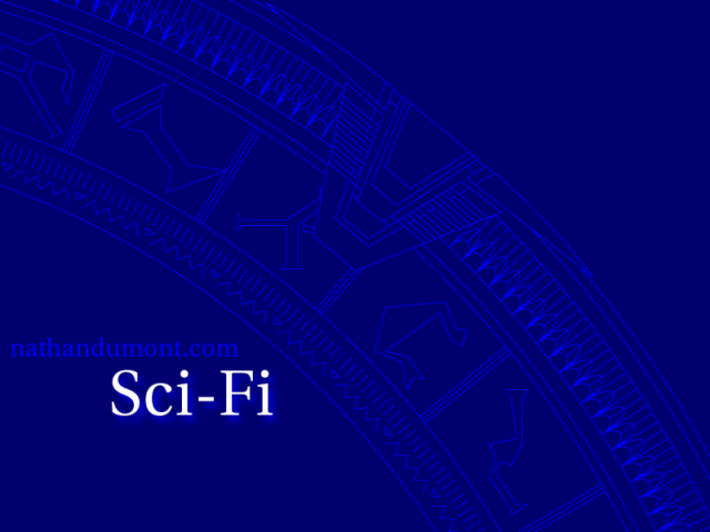 A portion of the Stargate ring rendered in a stylised blue print fashion.